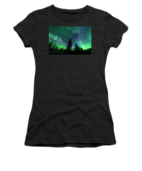 Women's T-Shirt (Junior Cut) featuring the photograph Jasper National Park Aurora by Dan Jurak