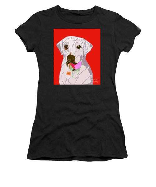 Jax With Ball In Red Women's T-Shirt