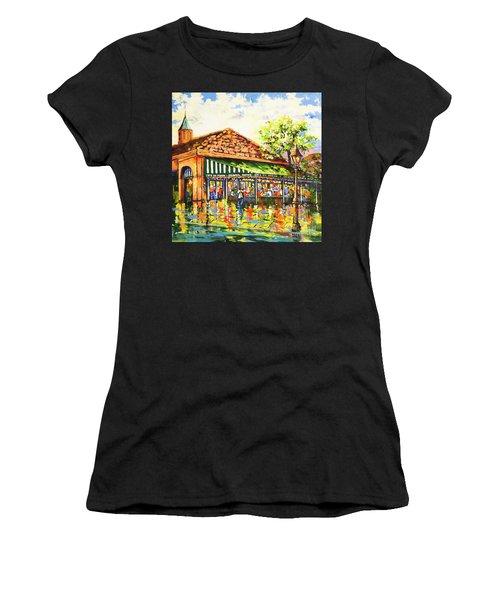 Jazz At Cafe Du Monde Women's T-Shirt (Athletic Fit)