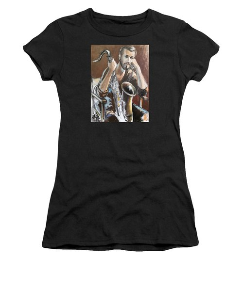 Jazz.saxophone Player Painting  Women's T-Shirt (Athletic Fit)