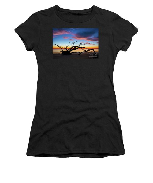 Jekyll Island Sunrise On Driftwood Beach Women's T-Shirt