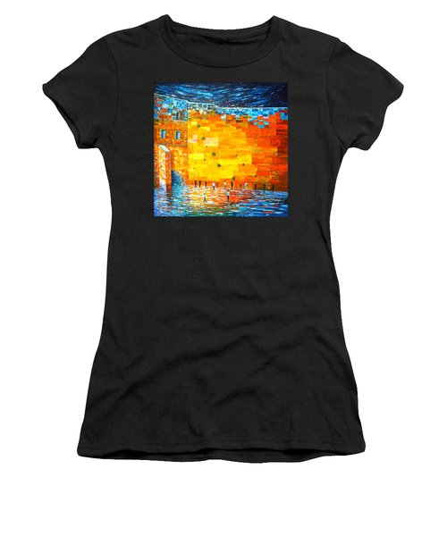 Women's T-Shirt (Athletic Fit) featuring the painting Jerusalem Wailing Wall Original Acrylic Palette Knife Painting by Georgeta Blanaru