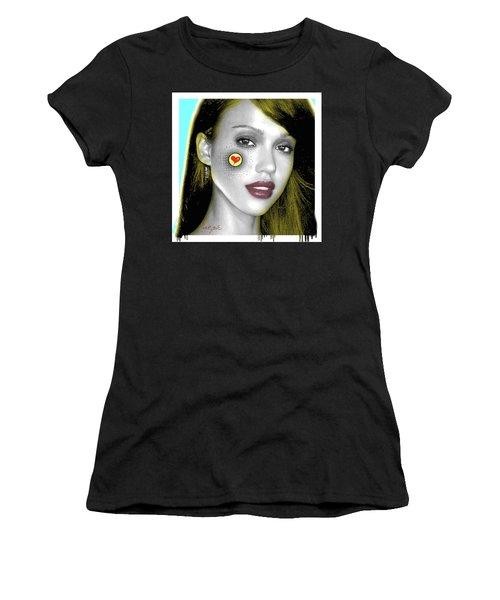Jessica Alba Pop Art, Portrait, Contemporary Art On Canvas, Famous Celebrities Women's T-Shirt (Athletic Fit)