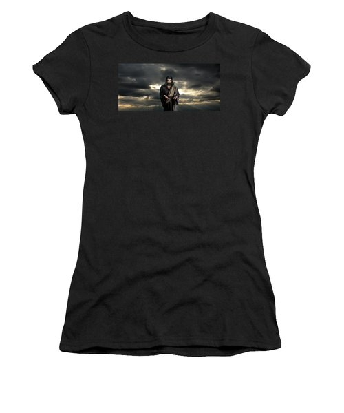 Jesus In The Clouds With Glory Women's T-Shirt (Athletic Fit)