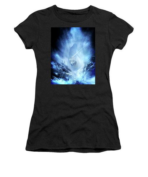 Jon Snow And Ghost - Game Of Thrones Women's T-Shirt (Junior Cut) by Lilia D