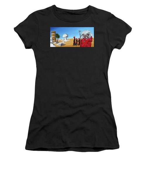 Women's T-Shirt (Athletic Fit) featuring the painting Journey To The White Desert by Paxton Mobley