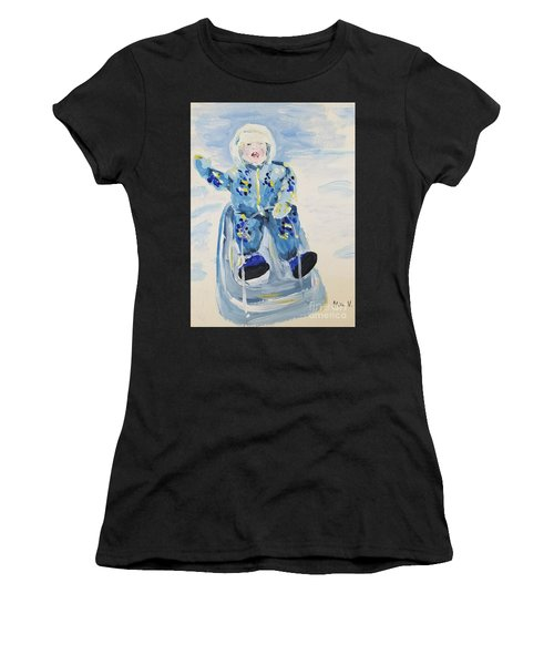 Women's T-Shirt featuring the painting Joy Ride by Maria Langgle