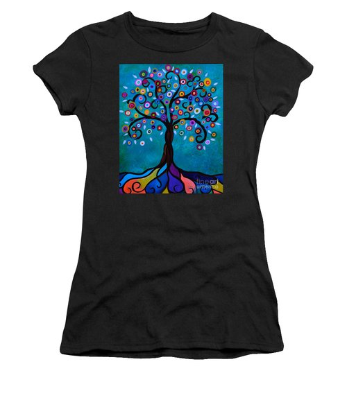 Women's T-Shirt (Athletic Fit) featuring the painting Juju's Tree by Pristine Cartera Turkus
