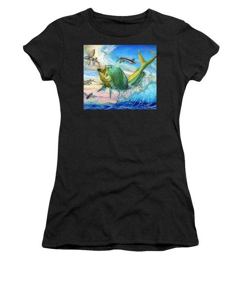 Jumping Mahi Mahi And Flyingfish Women's T-Shirt (Athletic Fit)