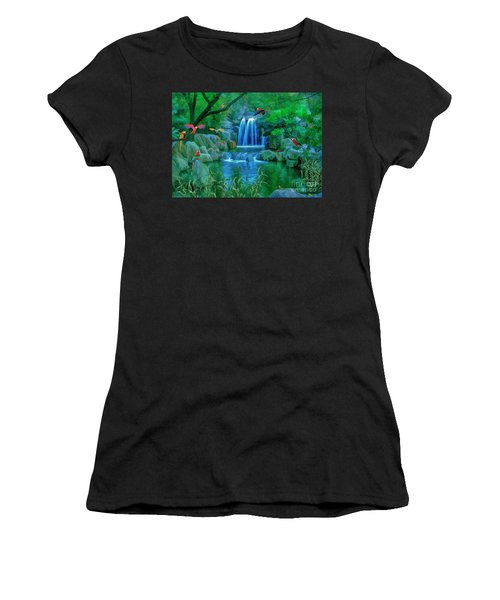 Jungle Water Falls And Parrots Women's T-Shirt (Athletic Fit)