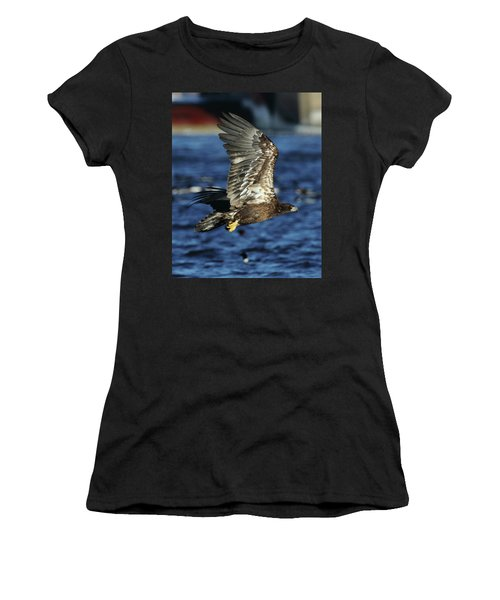 Women's T-Shirt (Junior Cut) featuring the photograph Juvenile Bald Eagle Over Water by Coby Cooper