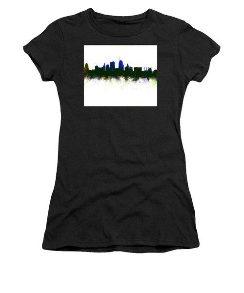 Kansas City Skyline Blue  Women's T-Shirt (Junior Cut) by Enki Art