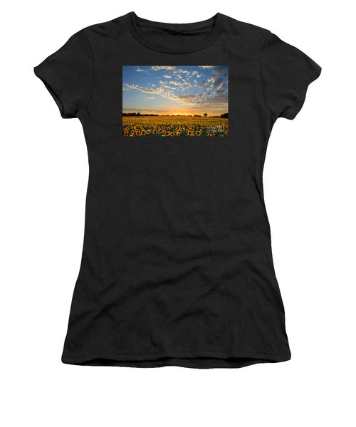 Kansas Sunflowers At Sunset Women's T-Shirt (Athletic Fit)