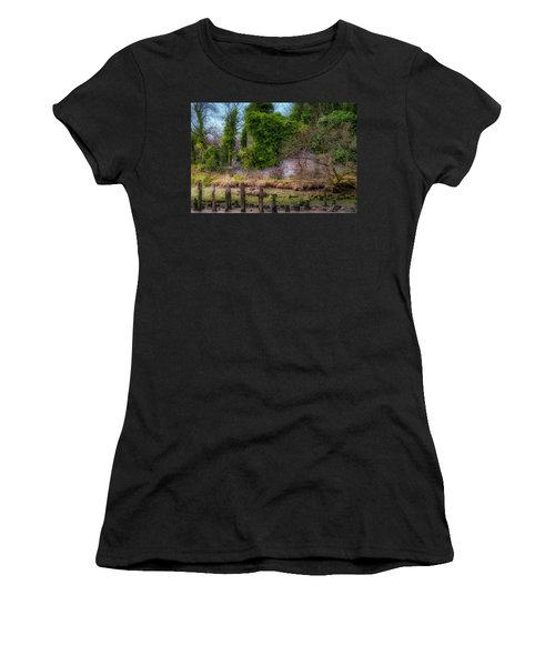 Women's T-Shirt (Athletic Fit) featuring the photograph Kennetpans Distillery Ruins by Jeremy Lavender Photography