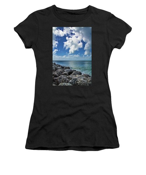 Women's T-Shirt (Athletic Fit) featuring the photograph Key West Clouds On The Rocks by Bob Slitzan