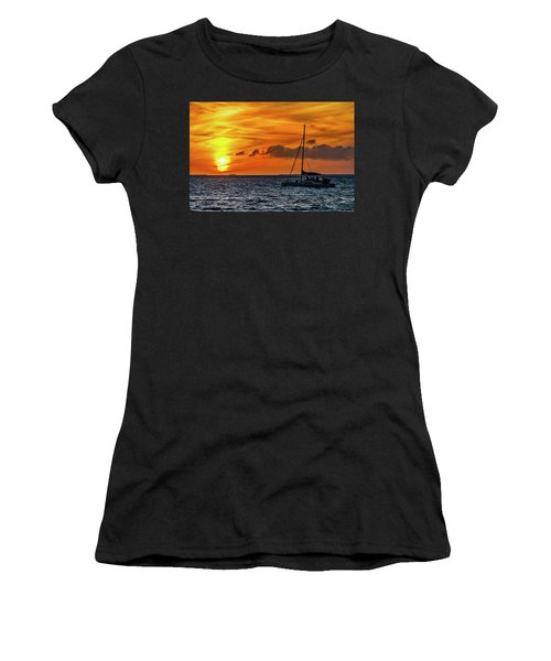 Women's T-Shirt (Athletic Fit) featuring the photograph Key West Double Sun Sunset by Bob Slitzan