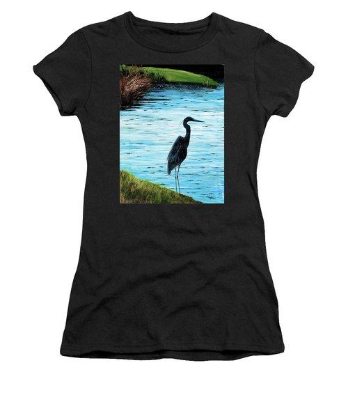 Kiawah Heron Women's T-Shirt (Athletic Fit)