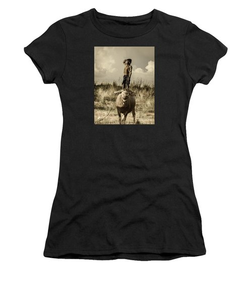 Kid And Cow Women's T-Shirt (Athletic Fit)