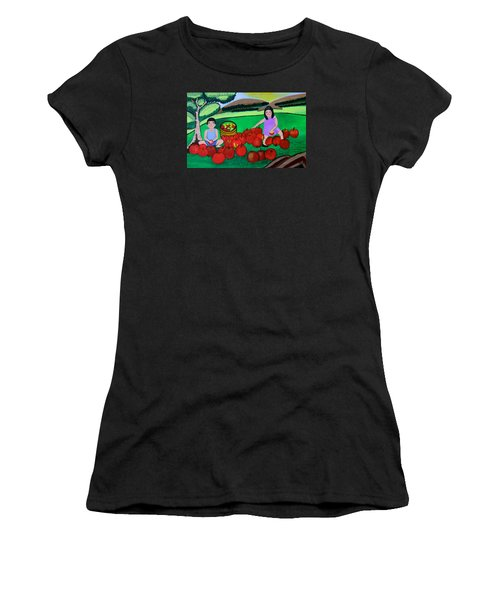 Kids Playing And Picking Apples Women's T-Shirt (Athletic Fit)