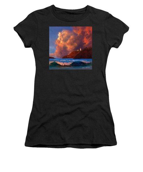 Kilauea Lighthouse - Hawaiian Cliffs Sunset Seascape And Clouds Women's T-Shirt