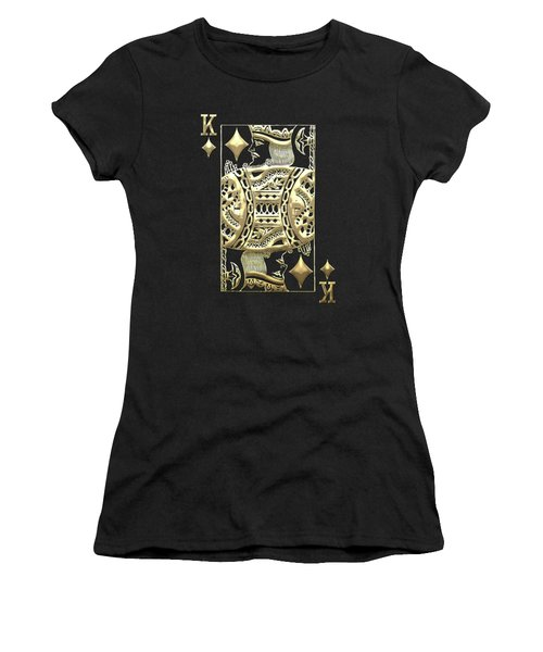 King Of Diamonds In Gold On Black  Women's T-Shirt (Athletic Fit)