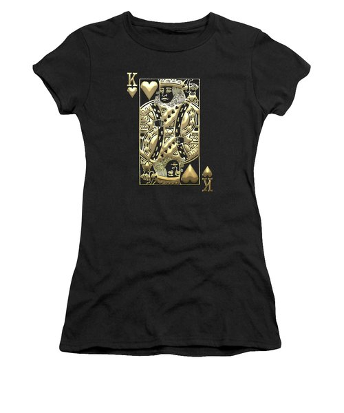 King Of Hearts In Gold On Black Women's T-Shirt (Athletic Fit)