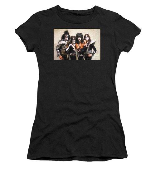 Kiss Band Women's T-Shirt (Junior Cut) by Steven Parker