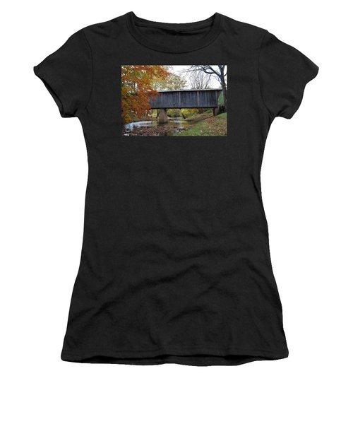 Women's T-Shirt (Junior Cut) featuring the photograph Kissing Bridge At Fall by Eric Liller