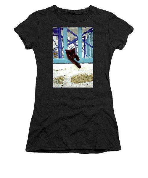 Kitten With Blue Rail Women's T-Shirt
