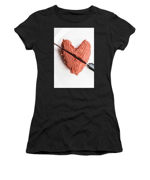 Knife Cutting Heart Shape Chocolate On Plate Women's T-Shirt