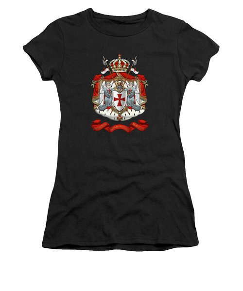 Knights Templar - Coat Of Arms Over Black Velvet Women's T-Shirt (Junior Cut) by Serge Averbukh