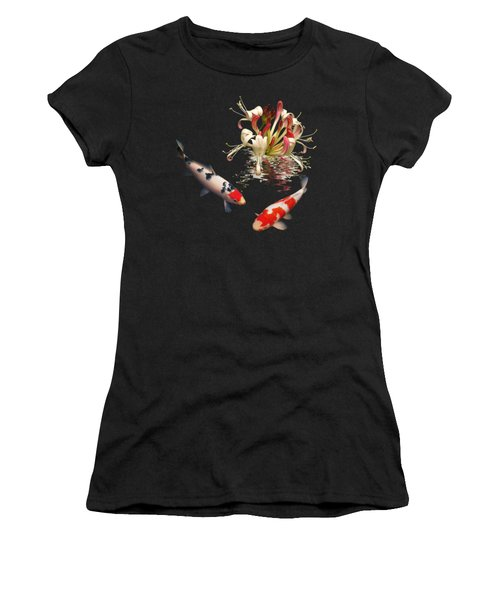 Koi With Honeysuckle Reflections Square Women's T-Shirt (Athletic Fit)
