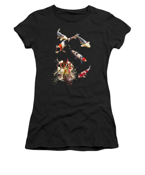 Koi With Honeysuckle Reflections Vertical Women's T-Shirt (Junior Cut) by Gill Billington