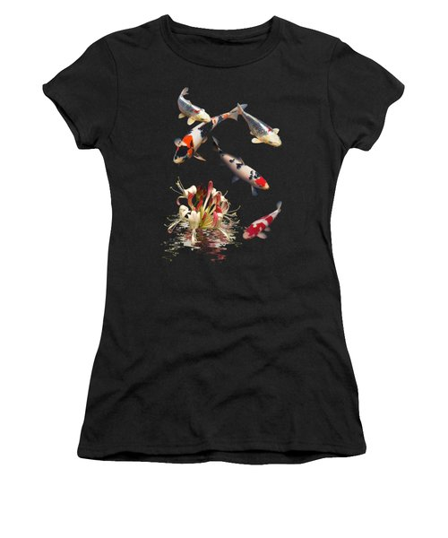 Koi With Honeysuckle Reflections Vertical Women's T-Shirt