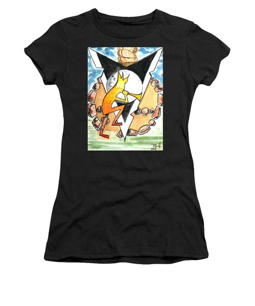 Women's T-Shirt featuring the painting Kokapelli Dancing Into The Circle by Reed Novotny