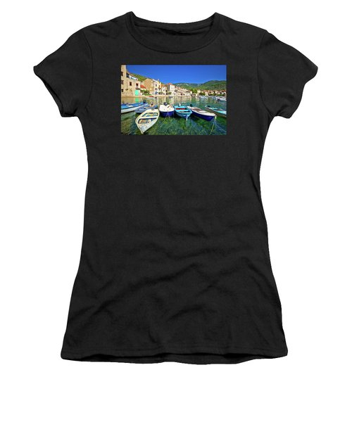 Komiza On Vis Island Turquoise Waterfront Women's T-Shirt (Athletic Fit)