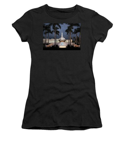 Kona Hawaii Temple-night Women's T-Shirt (Athletic Fit)