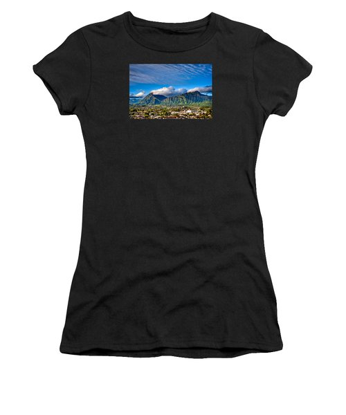 Women's T-Shirt featuring the photograph Koolau And Pali Lookout From Kanohe by Dan McManus