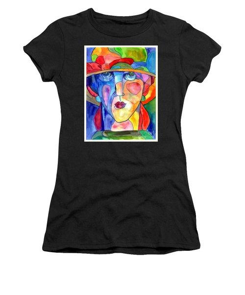 Lady In Hat Watercolor Women's T-Shirt