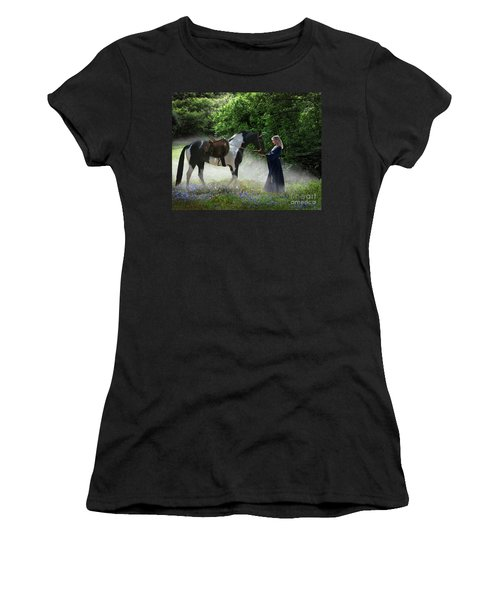 Women's T-Shirt (Athletic Fit) featuring the digital art Lady Of The Morning by Melinda Hughes-Berland