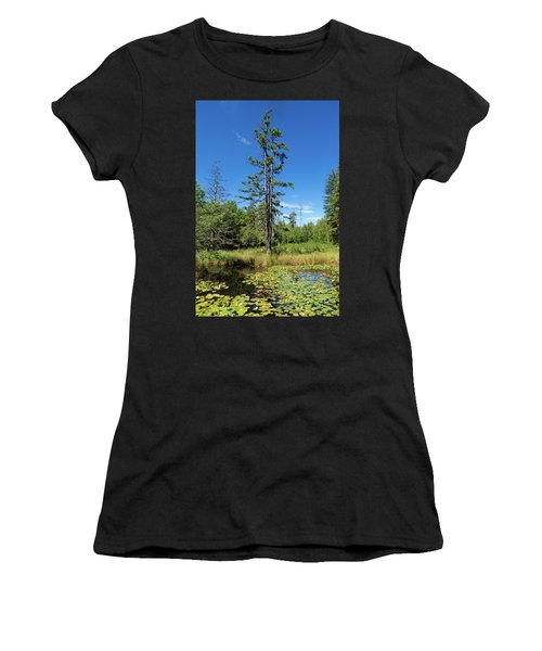 Women's T-Shirt (Athletic Fit) featuring the photograph Lake Birkensee Nature Park Schoenbuch Germany by Matthias Hauser