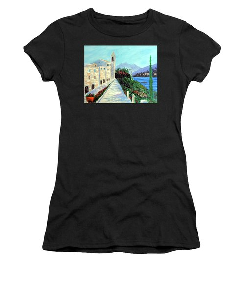 Women's T-Shirt (Junior Cut) featuring the painting Lake Como Colors  by Larry Cirigliano