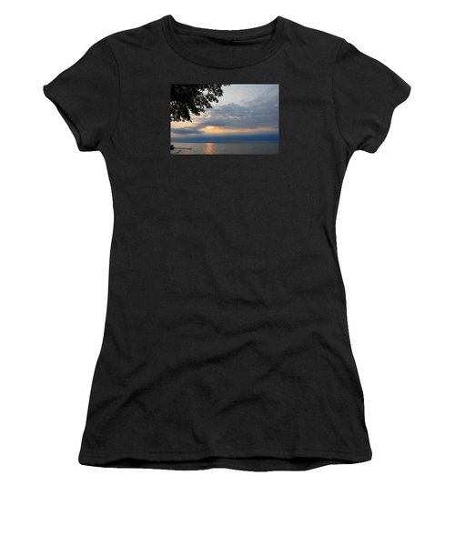Lake Erie Sunset Women's T-Shirt (Junior Cut) by Lena Wilhite