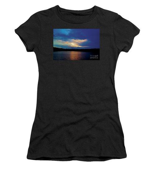 Women's T-Shirt (Junior Cut) featuring the painting Lake Sunset by Debra Crank