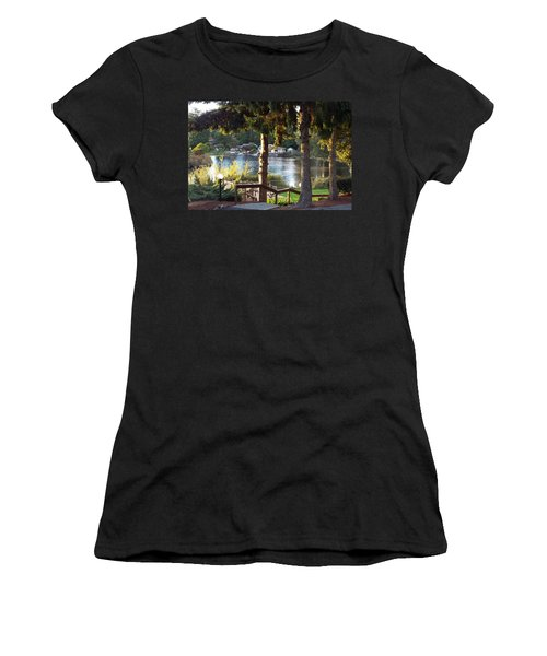 Women's T-Shirt (Junior Cut) featuring the photograph  Beverly Lake View In Fall by Judyann Matthews