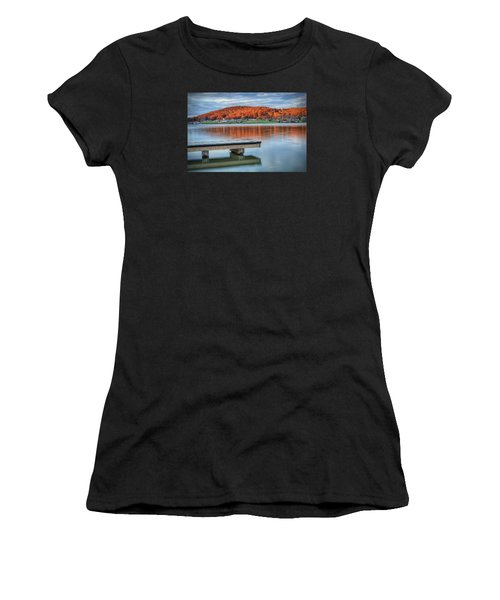 Autumn Red At Lake White Women's T-Shirt (Athletic Fit)