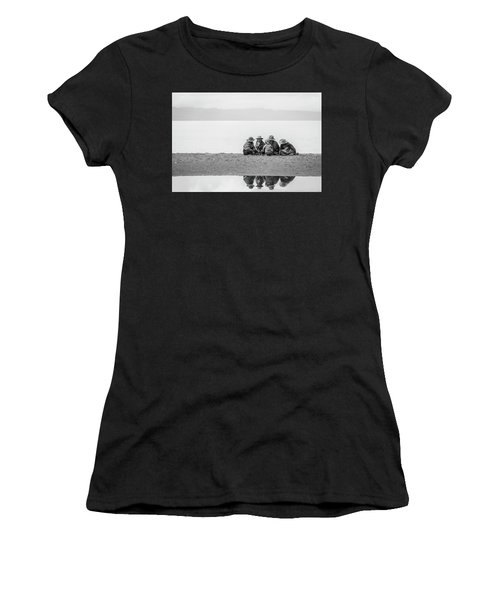 Women's T-Shirt featuring the photograph Lakeshore Discussion, Namtso, 2007 by Hitendra SINKAR