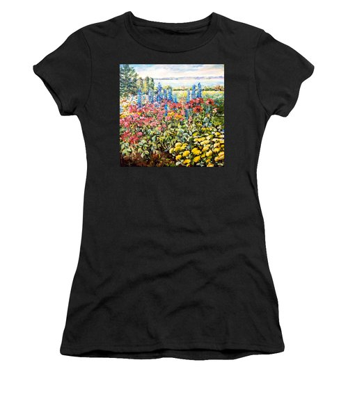 Women's T-Shirt featuring the painting Lakeside Garden by Ingrid Dohm