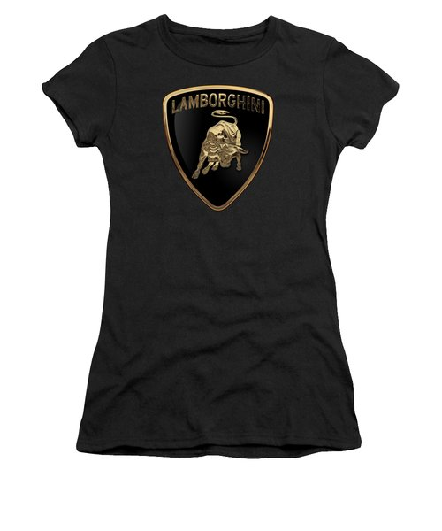 Lamborghini - 3d Badge On Black Women's T-Shirt (Junior Cut) by Serge Averbukh