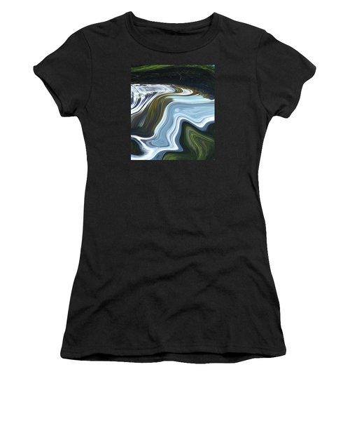 Women's T-Shirt (Junior Cut) featuring the digital art Lands End by Kerri Ligatich